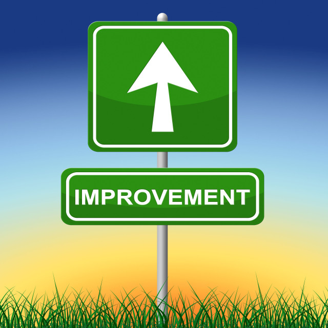 """Improvement Sign Indicates Message Arrow And Advance"" stock image"