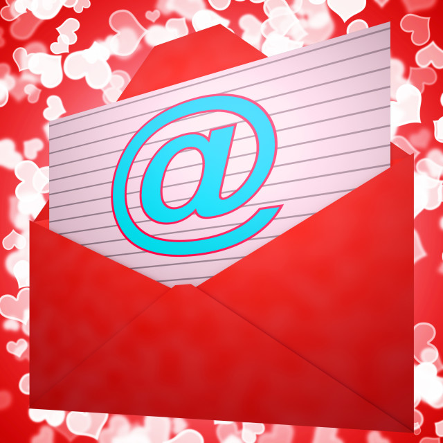 """""""At Envelope Shows Email Message And Correspondence"""" stock image"""
