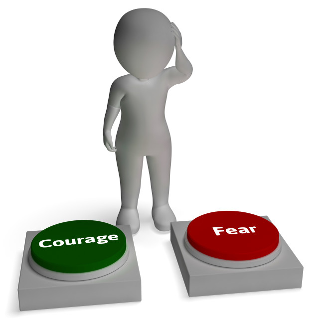 """Courage Fear Buttons Shows Courageous Or Fearful"" stock image"