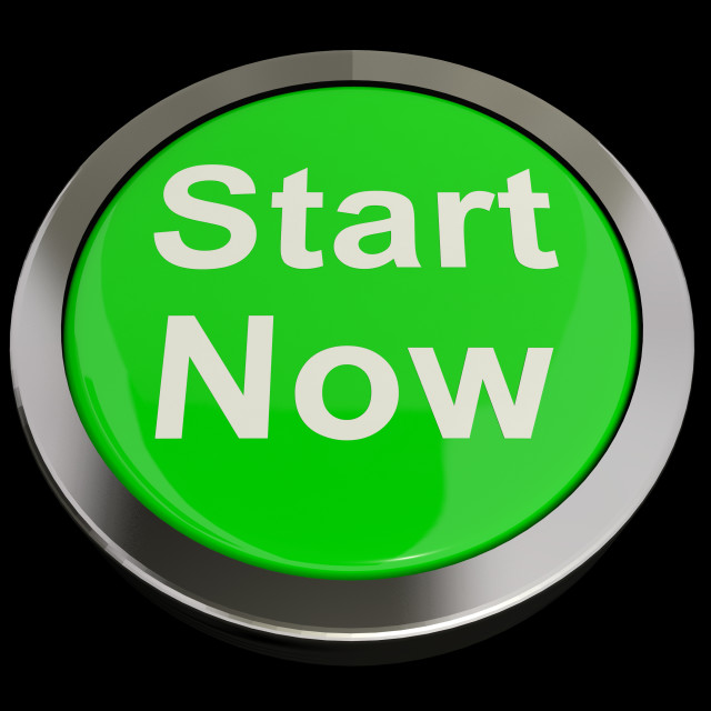 """""""Start Now Button Meaning To Commence Immediately"""" stock image"""