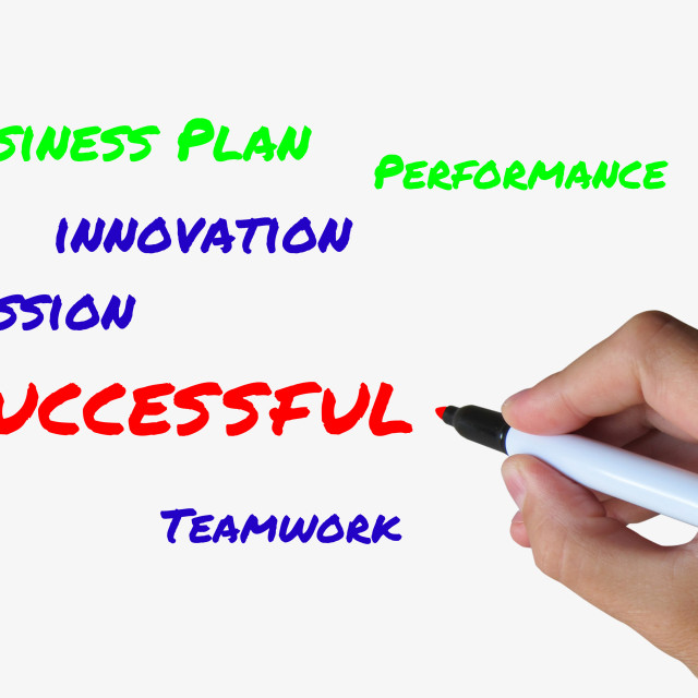 """""""Successful on Whiteboard Refers to Achieving Solutions and Accomplishment"""" stock image"""