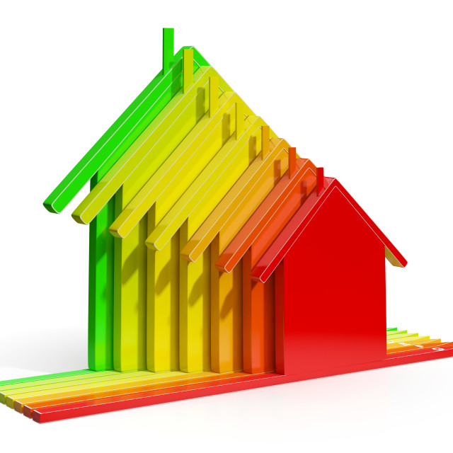 """""""Energy Efficiency Rating Houses Showing Eco Home"""" stock image"""
