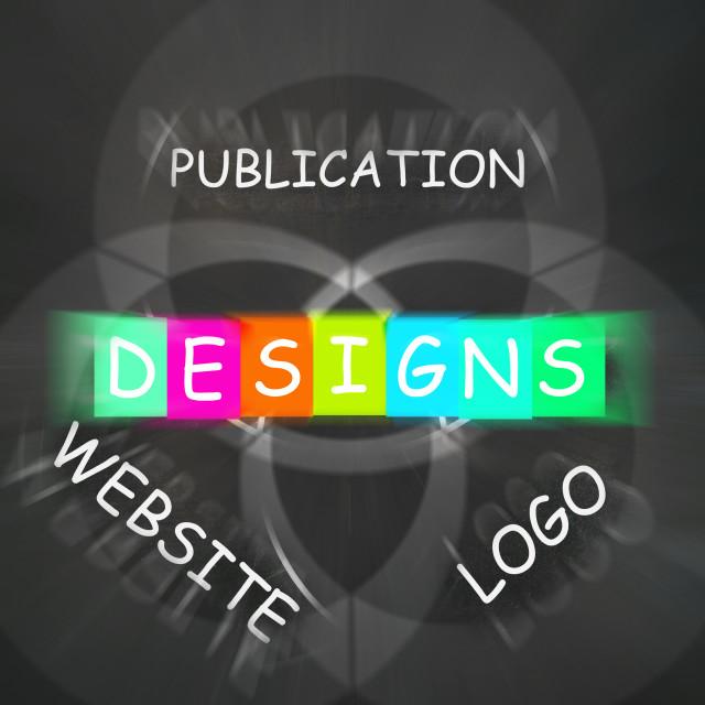 """Web design Words Displays Designs for Logo Publication and Websites"" stock image"