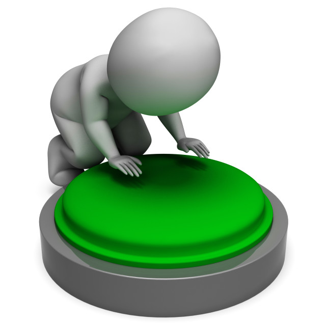 """Pushing Green Button Shows Start"" stock image"