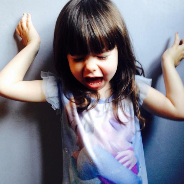 """3-year old girl upset"" stock image"