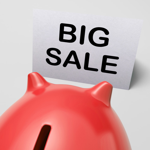 """Big Sale Piggy Bank Shows Price Slashed"" stock image"