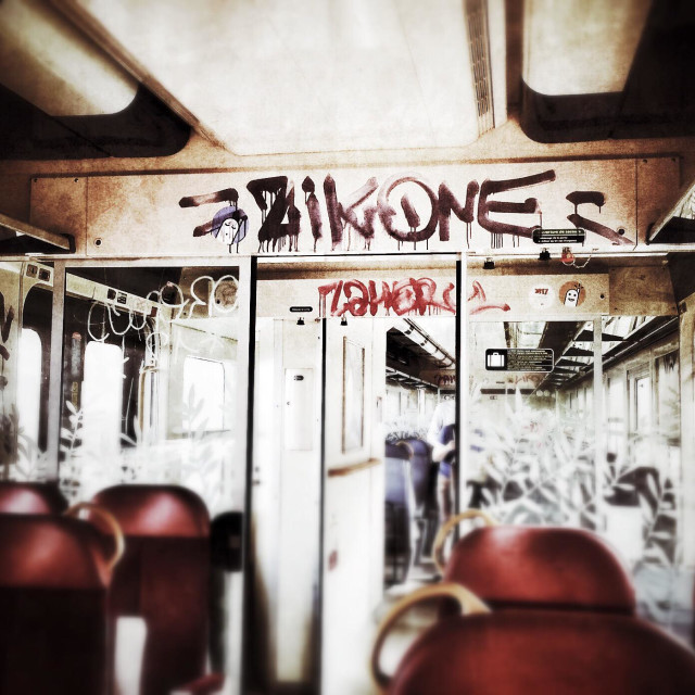 """""""Graffiti in a train carriage on the French railways"""" stock image"""