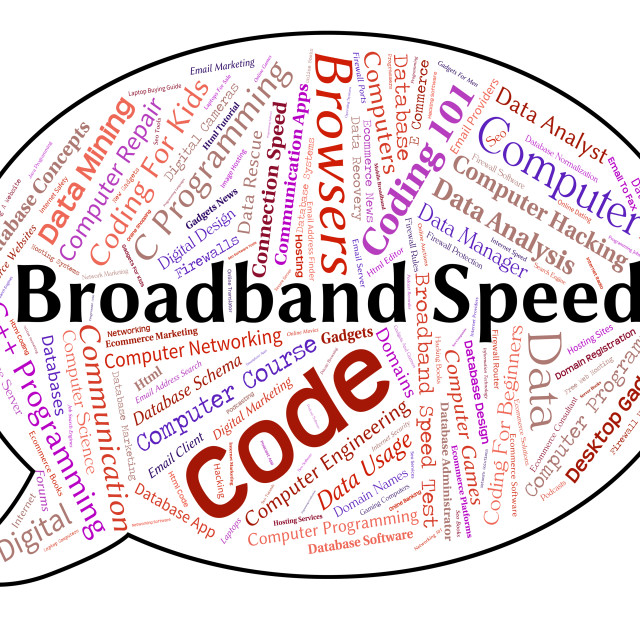 """Broadband Speed Means World Wide Web And Communication"" stock image"