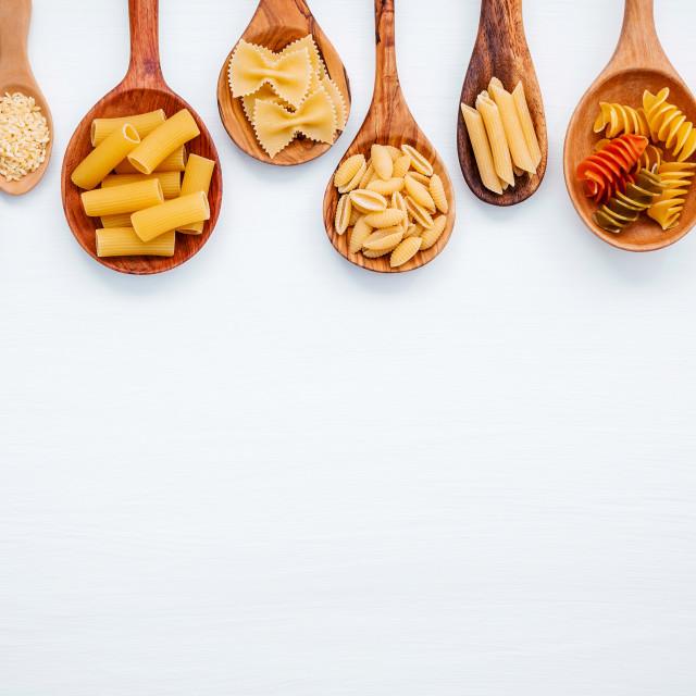 """Italian foods concept and menu design. Various kind of Pasta Farfalle, Pasta..."" stock image"