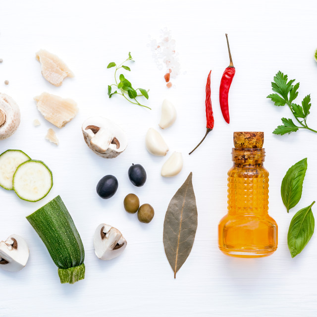 """Various vegetable and ingredients for cooking pasta menu sweet basil ,tomato..."" stock image"