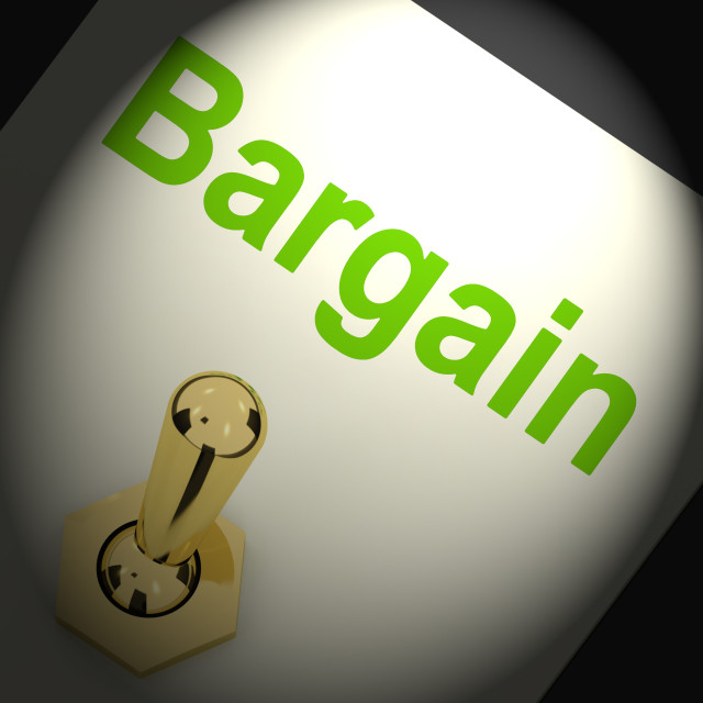 """Bargains Switch Shows Discount Promotion Or Markdown"" stock image"