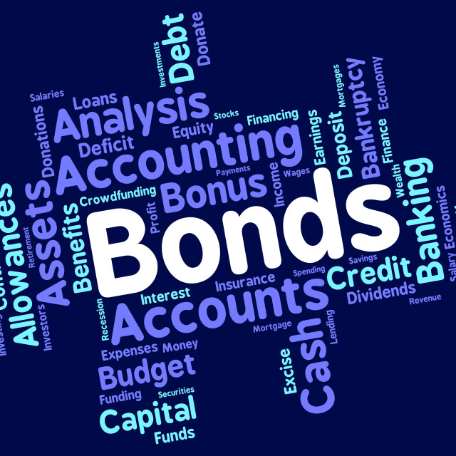 """""""Bonds Word Represents In Debt And Loan"""" stock image"""