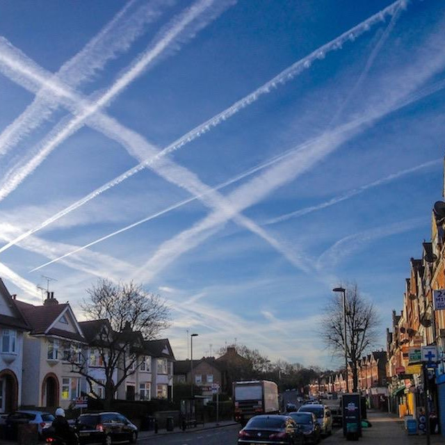 """""""Contrails over Muswell Hill"""" stock image"""