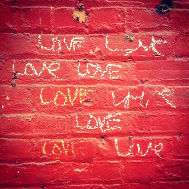 """Word love written as graffiti on a nyc brick wall"" stock image"