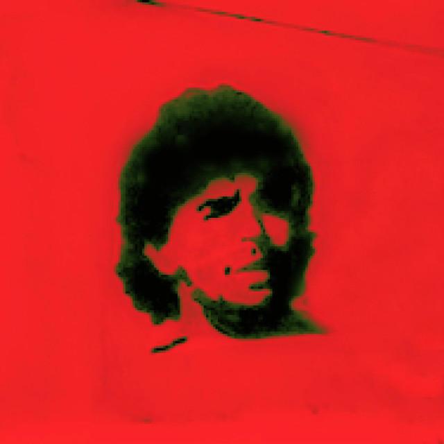 """Diego Maradona stencil graffiti"" stock image"