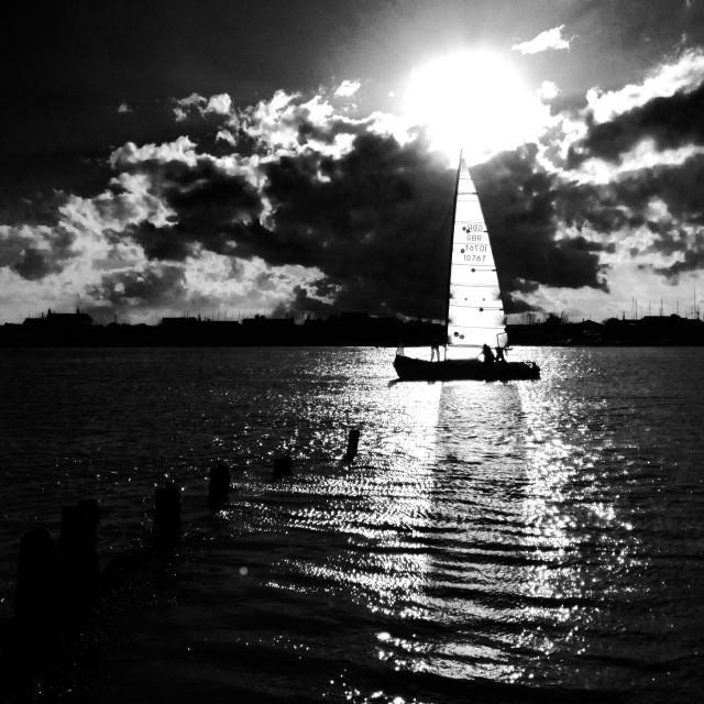 """Yacht sailing on the river Deben, Felixstowe Ferry, Suffolk, UK."" stock image"