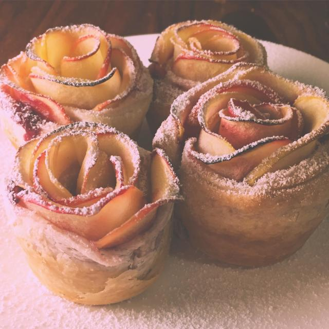 """""""Self made apple roses"""" stock image"""