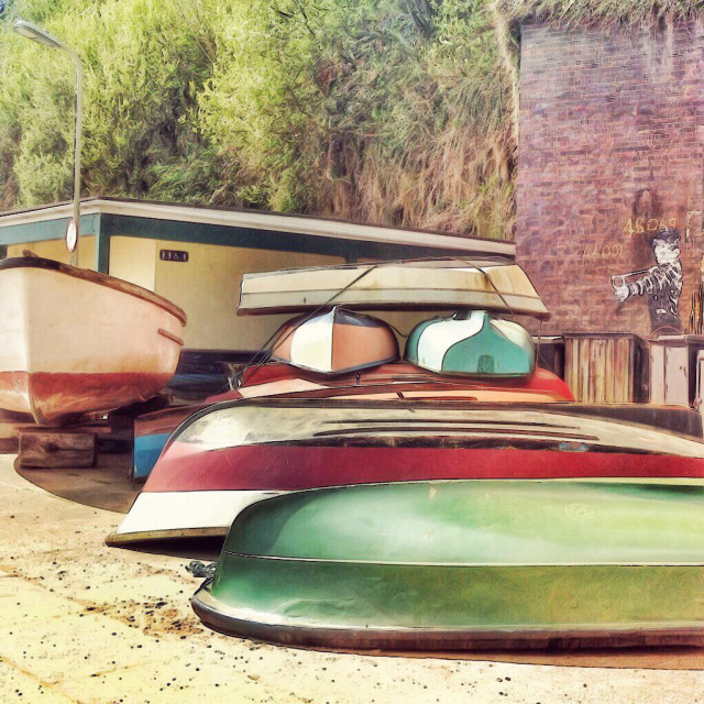 """Boats and streetart"" stock image"