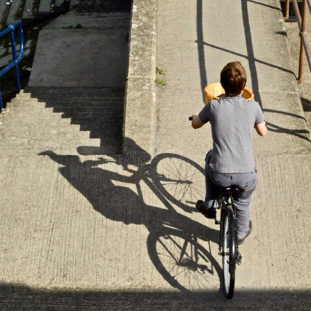 """Man cycling on towpath"" stock image"