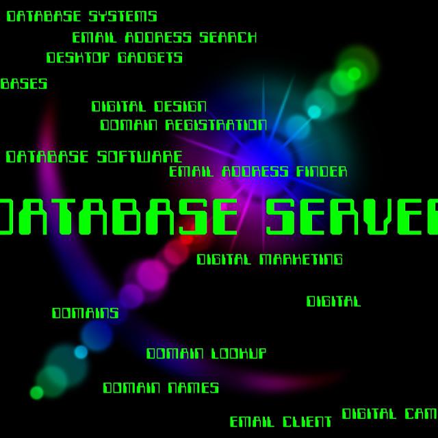"""Database Server Indicates Computer Databases And Hosting"" stock image"