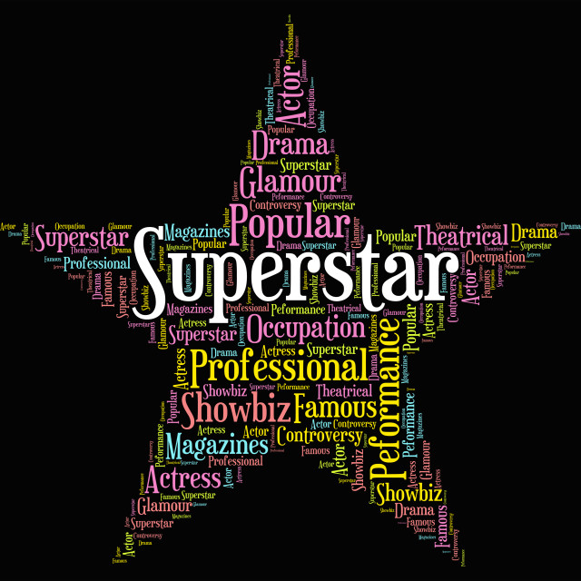 """""""Superstar Word Means Hot Shot And Figure"""" stock image"""