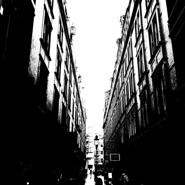 """""""London. In the middle of the street, between the buildings."""" stock image"""