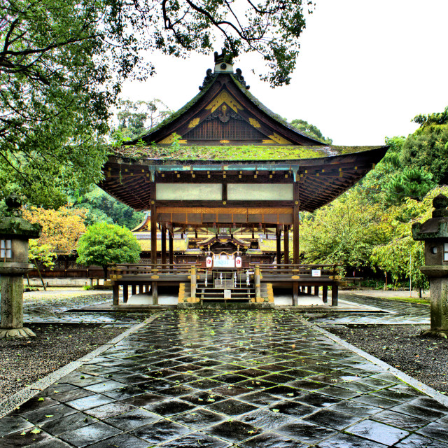 """Hirano Shrine after the rain"" stock image"