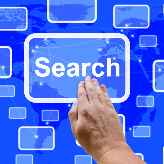 """""""Search Button On Screen Showing Internet Access And Online Research"""" stock image"""