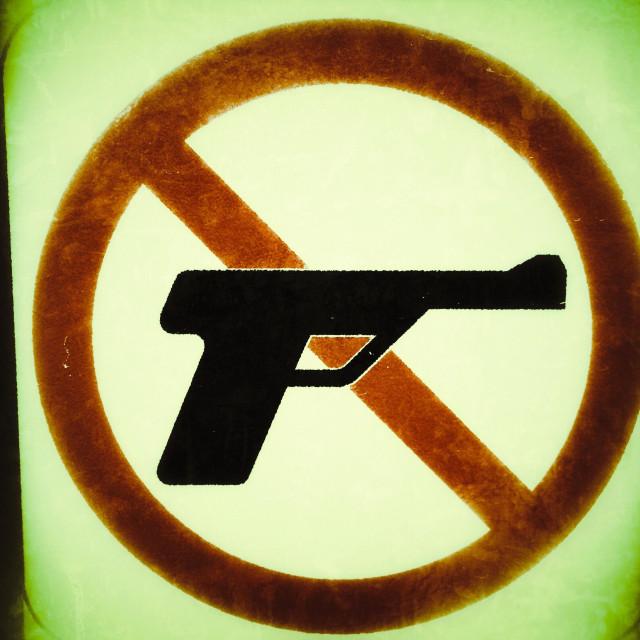 """No guns allowed sign"" stock image"