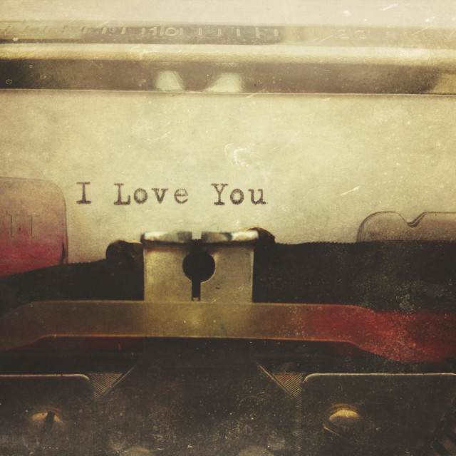 """""""Typewriter with the words I Love You"""" stock image"""