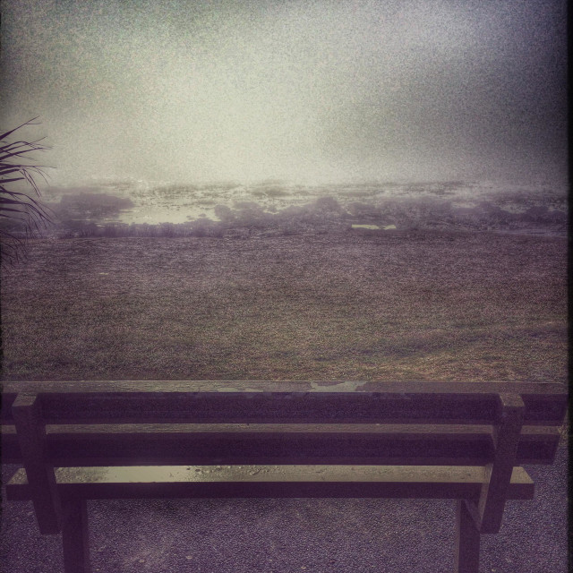 """""""Bench at Seapoint Promenade, Cape Town."""" stock image"""