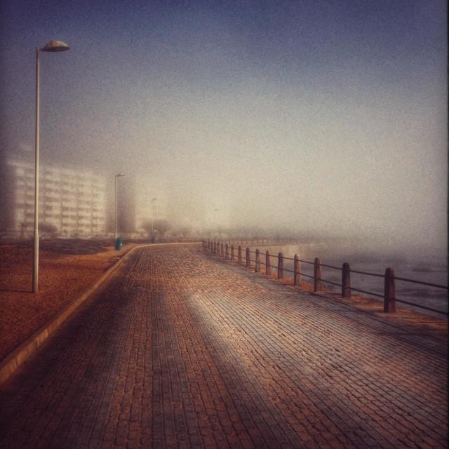 """Seapoint promenade Oma misty morning."" stock image"