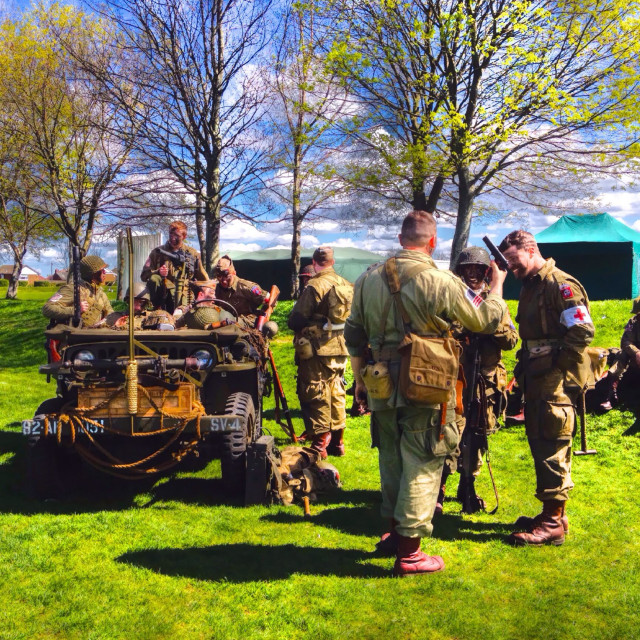 """Army display at a fete"" stock image"