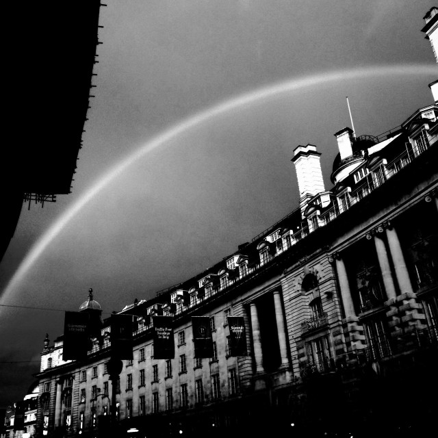 """London. Rainbow over the Regent Street"" stock image"