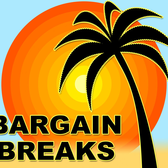 """""""Bargain Breaks Means Short Holiday And Bargains"""" stock image"""