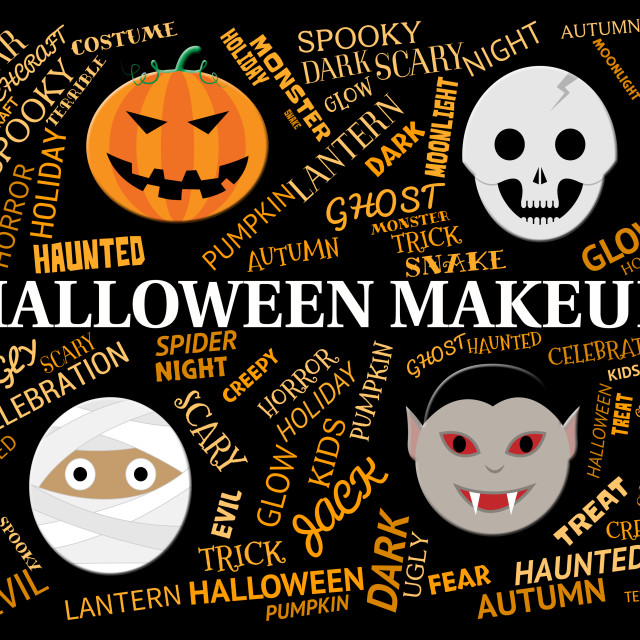 """""""Halloween Makeup Means Spooky And Haunting Cosmetics"""" stock image"""
