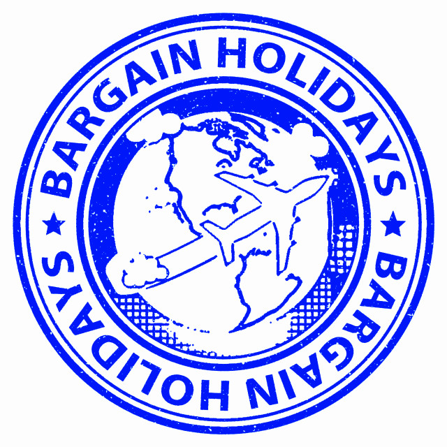 """""""Bargain Holidays Means Reduction Promotional And Vacational"""" stock image"""