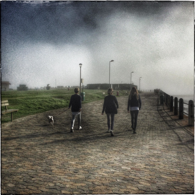 """""""Women walking with dog along Seapoint promenade, Cape Town, South Africa."""" stock image"""