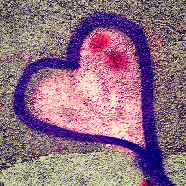 """Graffiti of a heart in Berlin Kreuzberg"" stock image"