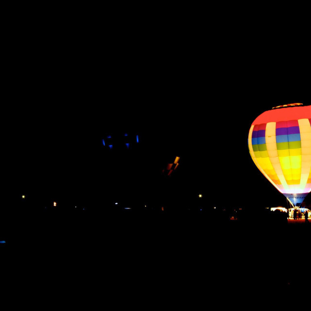 """""""Lone balloon at the hot air affair in Wisconsin."""" stock image"""