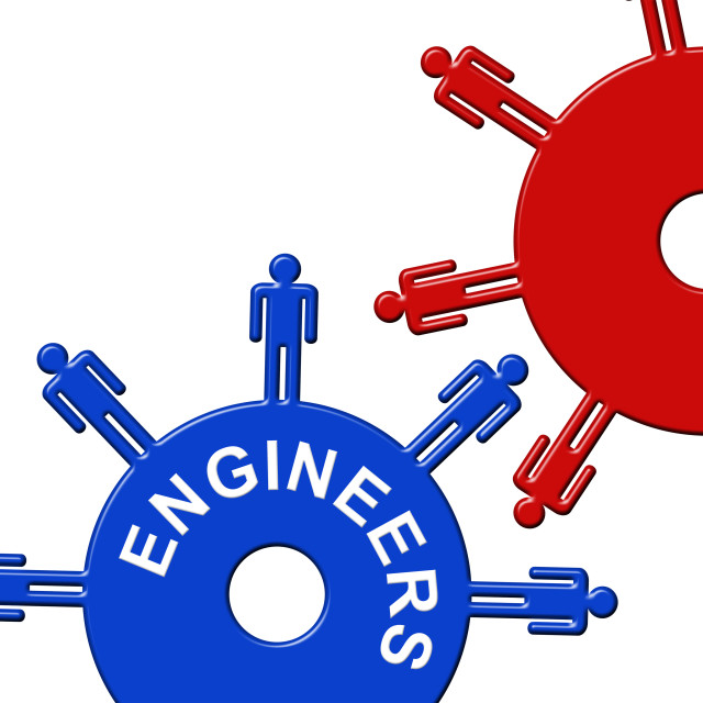 """""""Engineers Cogs Means Mechanic Collaboration And Cogwheel"""" stock image"""