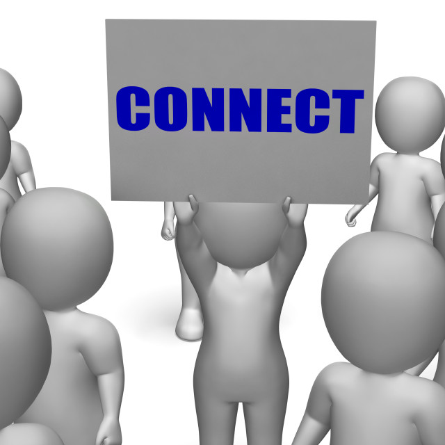 """""""Connect Board Character Shows Global Communications Or Connectivity"""" stock image"""