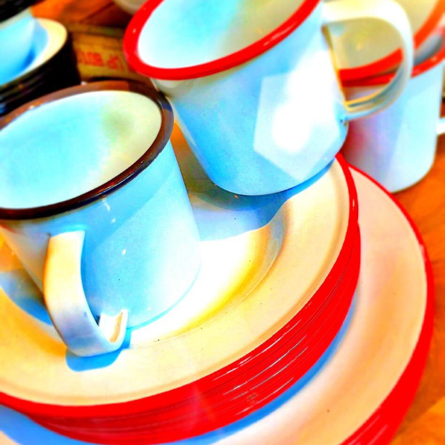"""""""Dinnerware metal cups and plates"""" stock image"""