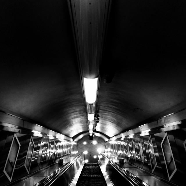 """London. The escalator"" stock image"