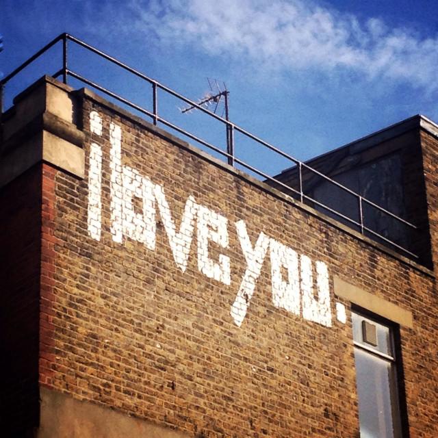 """I Love You graffiti, London, UK"" stock image"