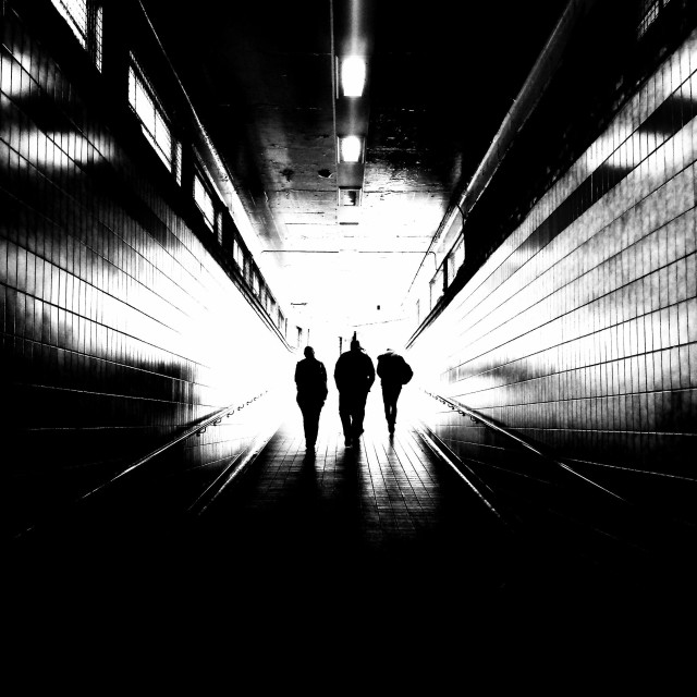 """""""London. Walking out of darkness"""" stock image"""