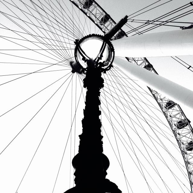 """""""London. The London Eye, rear view."""" stock image"""