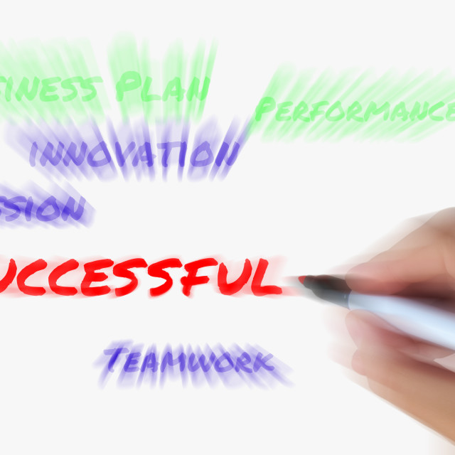 """""""Successful on Whiteboard Displays Achieving Solutions and Accomplishment"""" stock image"""
