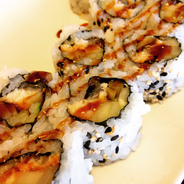 """""""Sushi with sauce stripes."""" stock image"""