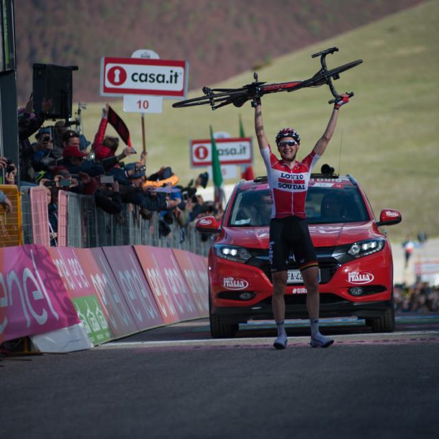 """Tim Wellens (Bel) winner stage 6 of the Giro D'Italia 2016 Ponte – Roccaraso"" stock image"